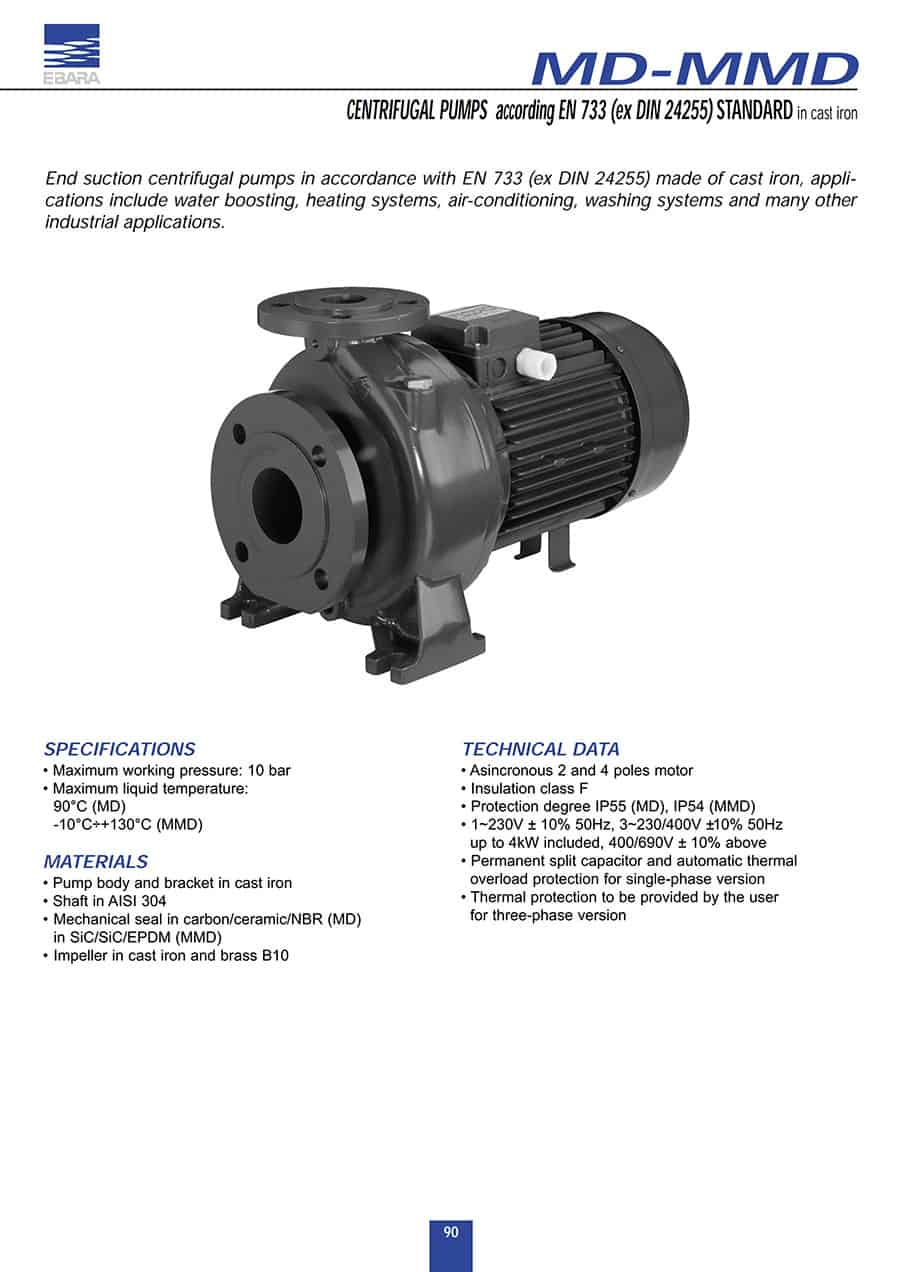 CENTRIFUGAL PUMPS according EN 733