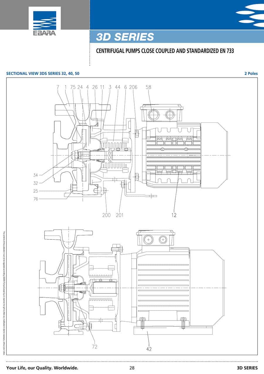 Ebara-Centrifugal-Pump 3D-قطرفلنچ مکش