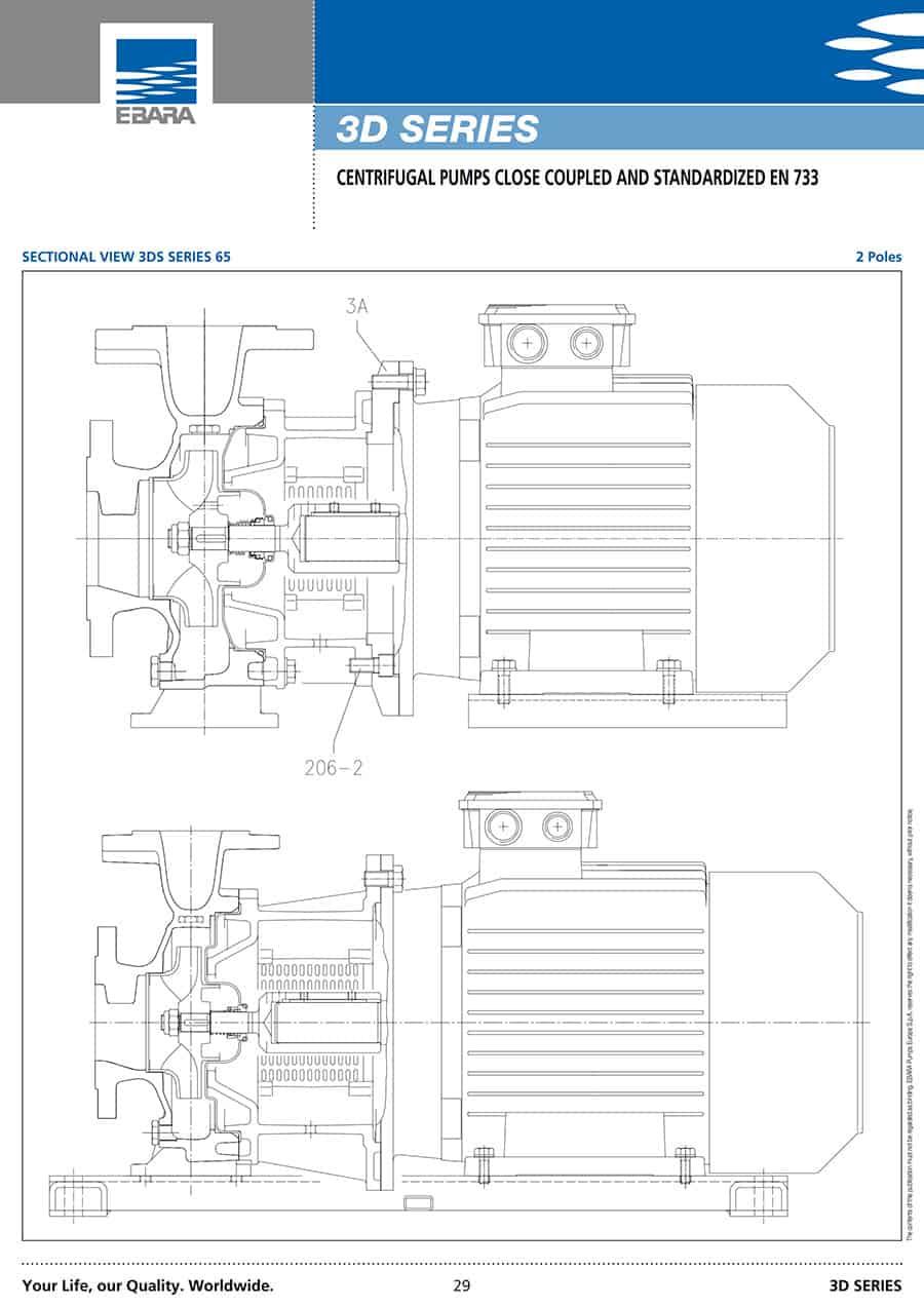 Ebara-Centrifugal-Pump 3D-قطر فلنچ رانش